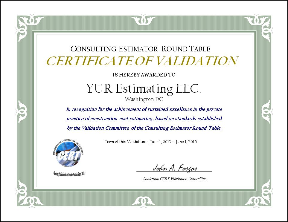 validation certificate-sample |